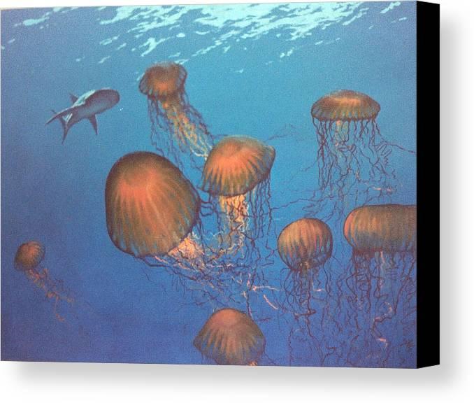 Underwater Canvas Print featuring the painting Jellyfish And Mr. Bones by Philip Fleischer