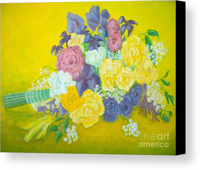 Wedding Bouquet Canvas Print featuring the painting Jen's Wedding Bouquet by Paul Galante