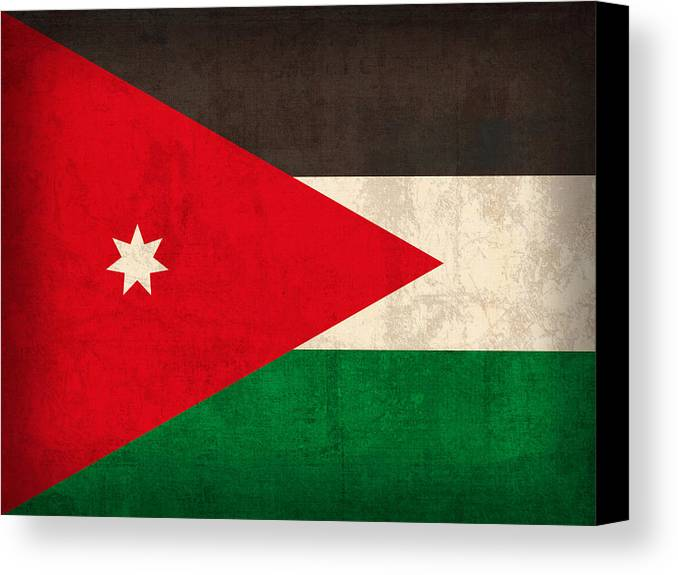 Jordan Canvas Print featuring the mixed media Jordan Flag Vintage Distressed Finish by Design Turnpike