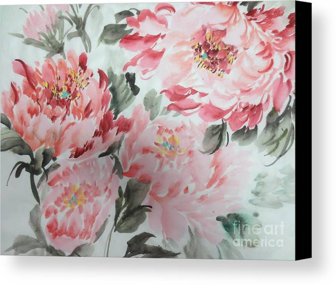 Flower In Wind Canvas Print featuring the painting Joy1222012-4 by Dongling Sun