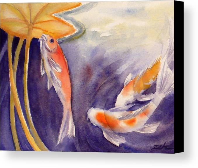 Watercolor Print Canvas Print featuring the painting Koi In A Lily Pond 11 by Janet Zeh