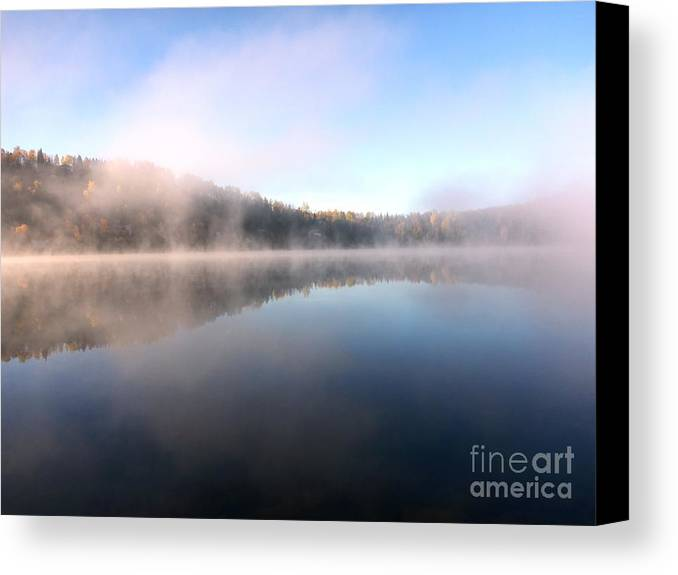 Fog Canvas Print featuring the photograph Lake In October by Cristina Stefan
