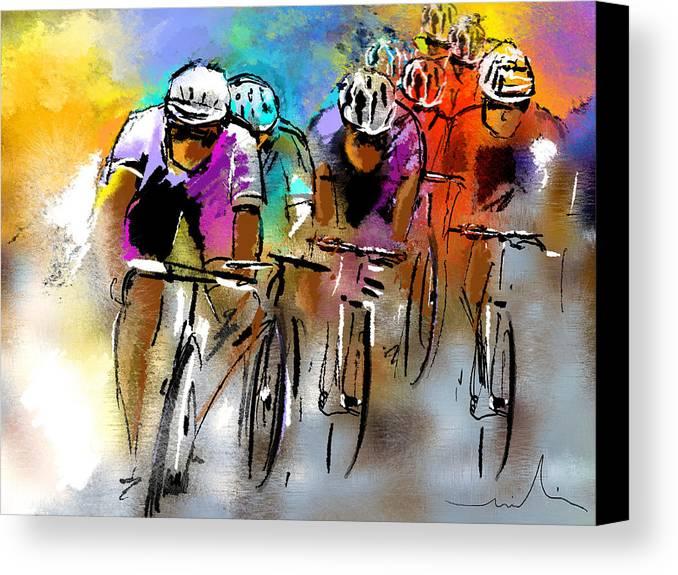 Sports Canvas Print featuring the painting Le Tour De France 03 by Miki De Goodaboom