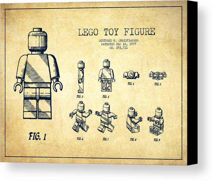 Lego Canvas Print featuring the drawing Lego Toy Figure Patent Drawing From 1979 - Vintage by Aged Pixel