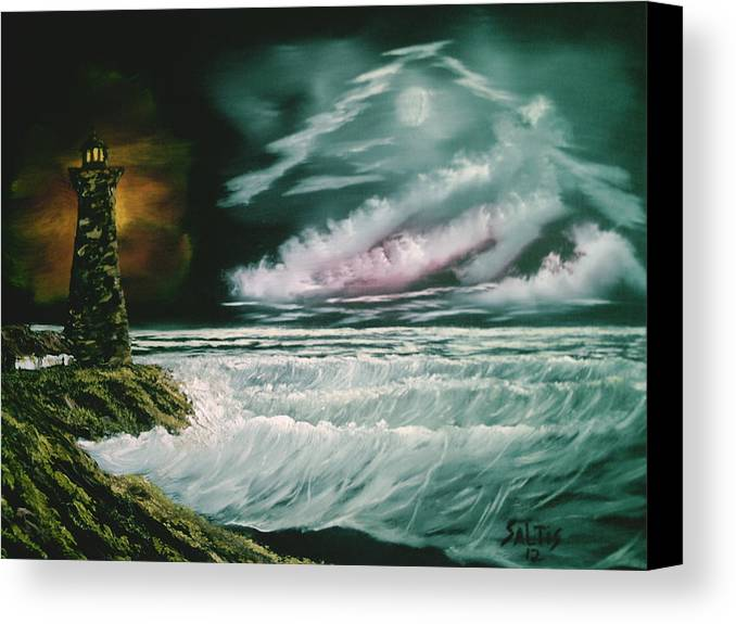 Ocean Canvas Print featuring the painting Lighthouse Glow by Jim Saltis