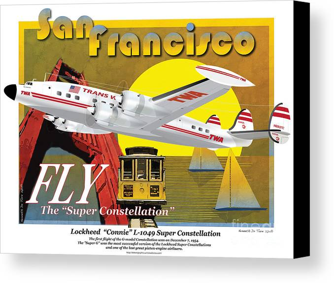 Conni Canvas Print featuring the drawing Lockheed L-1049g Super Constellation by Kenneth De Tore