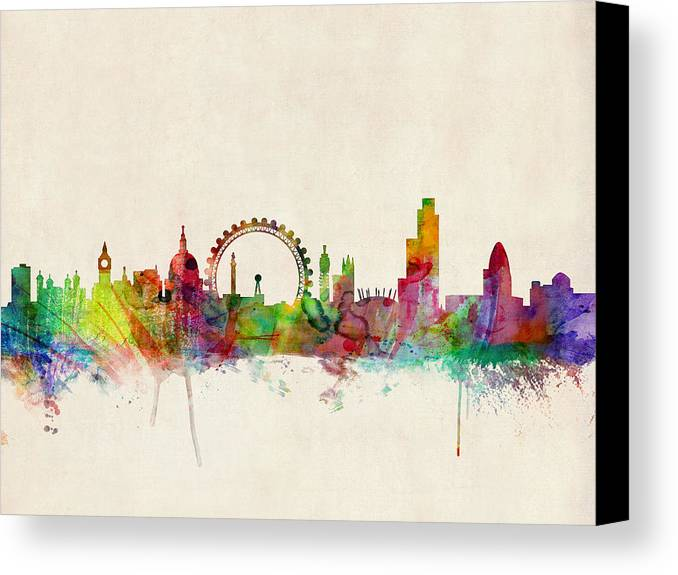 London Canvas Print featuring the digital art London Skyline Watercolour by Michael Tompsett