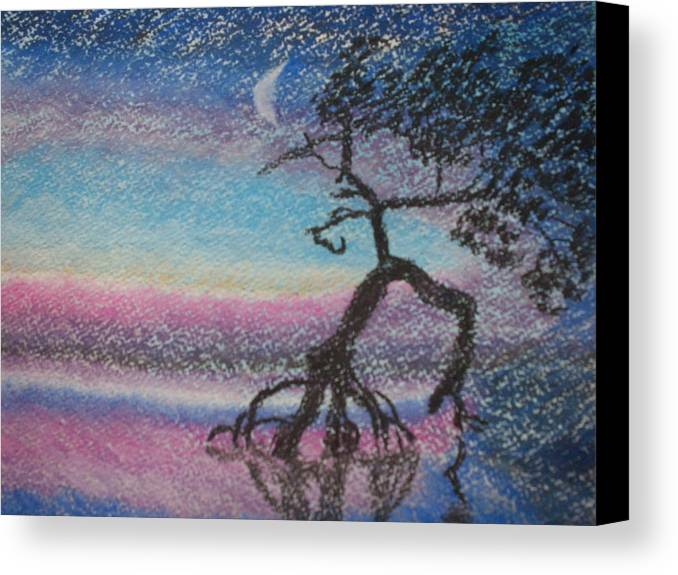 Landscape Canvas Print featuring the pastel Lone Dancer By Moonlight by Warren Thompson