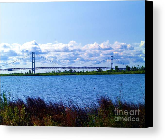 Lake Canvas Print featuring the photograph Mackinac Bridge Landscaped by Melissa McDole