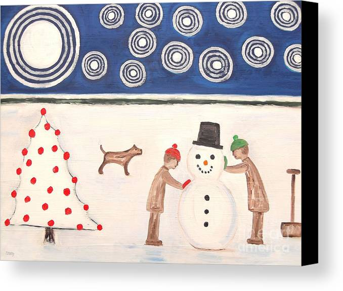 Snowman Canvas Print featuring the painting Making A Snowman At Christmas by Patrick J Murphy