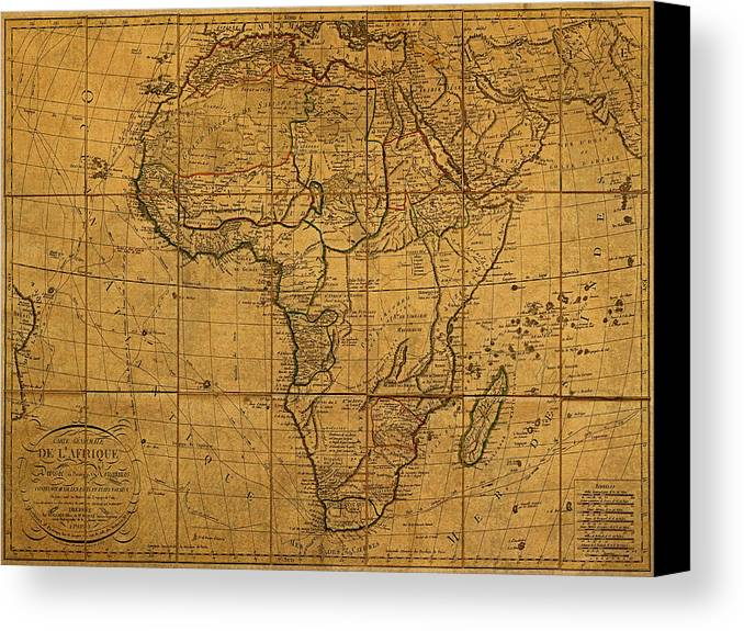 Map Of Africa Canvas Print featuring the mixed media Map Of Africa Circa 1829 On Worn Canvas by Design Turnpike