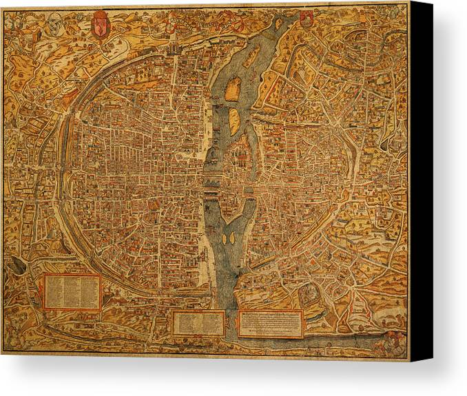 Map Of Paris Canvas Print featuring the mixed media Map Of Paris France Circa 1550 On Worn Canvas by Design Turnpike