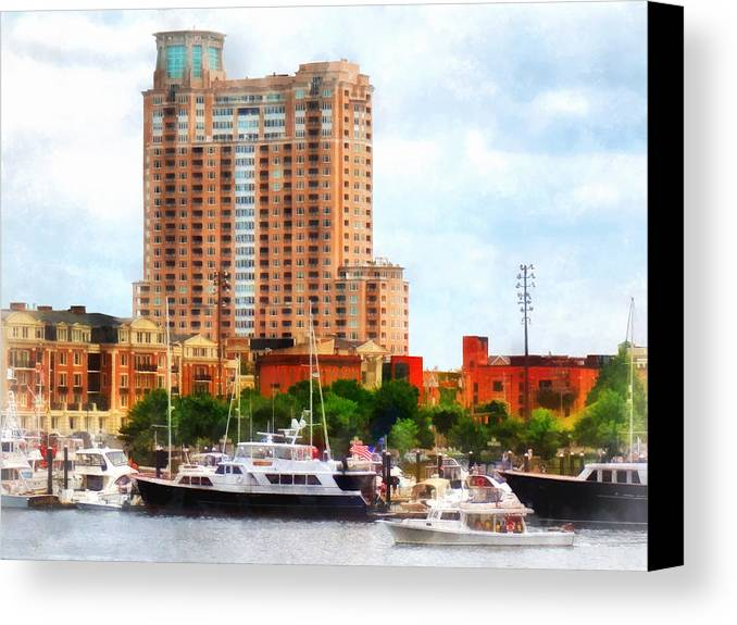 Boat Canvas Print featuring the photograph Maryland - Boats At Inner Harbor Baltimore Md by Susan Savad