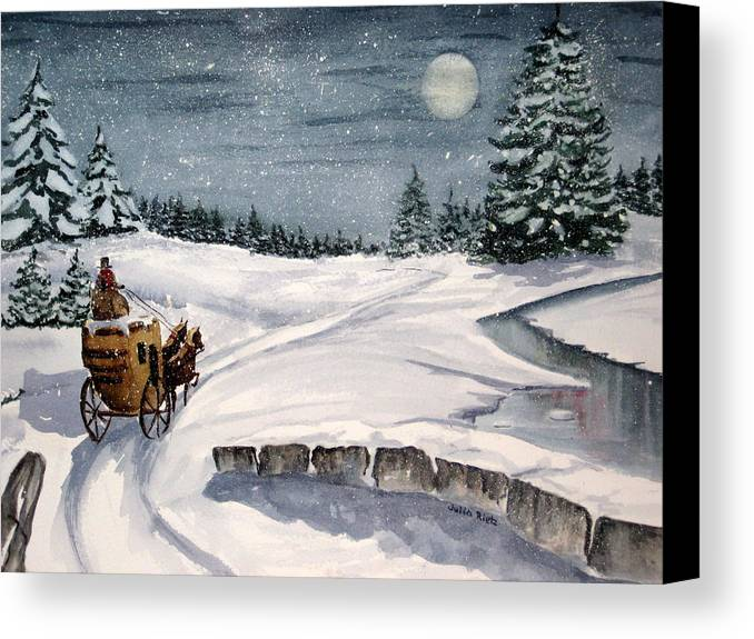 Holiday Canvas Print featuring the painting Merry Ride by Julia RIETZ