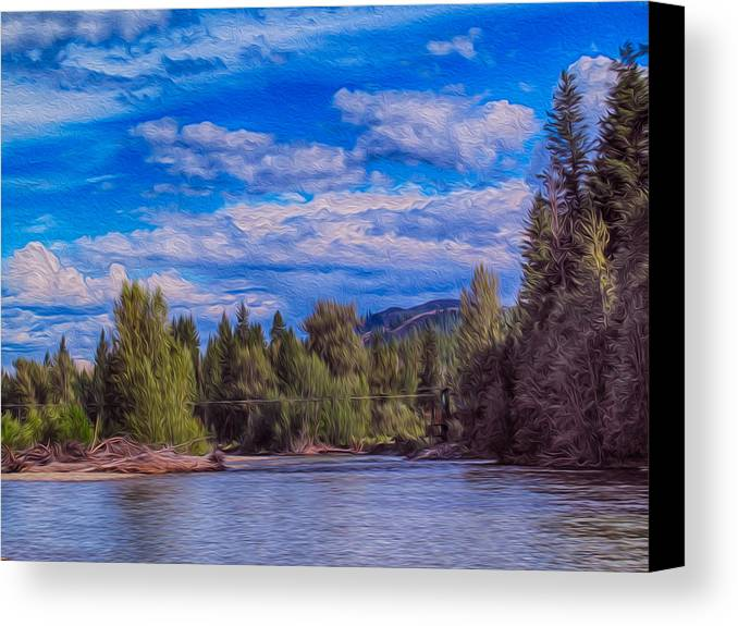 North Cascades Canvas Print featuring the photograph Methow River Crossing by Omaste Witkowski