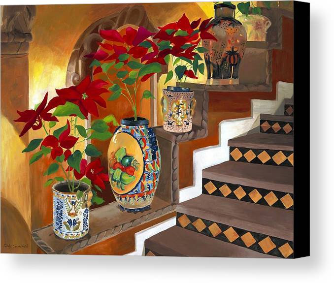 Mexican Pottery Canvas Print featuring the painting Mexican Pottery On Staircase by Judy Swerlick