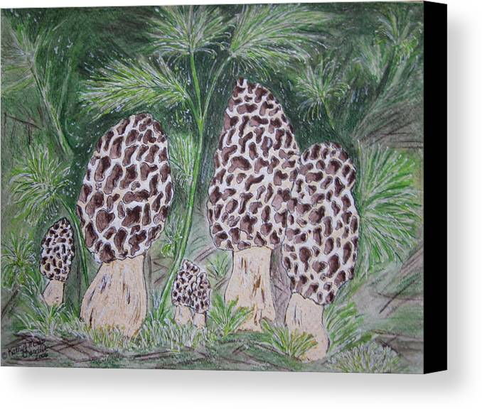 Morel Canvas Print featuring the painting Morel Mushrooms by Kathy Marrs Chandler