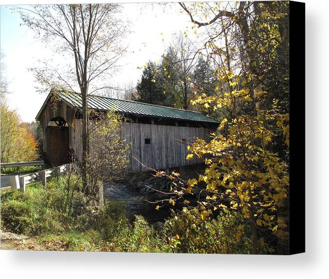 Covered Bridge Canvas Print featuring the photograph Morgan Bridge Belvidere Junction Vermont by Barbara McDevitt