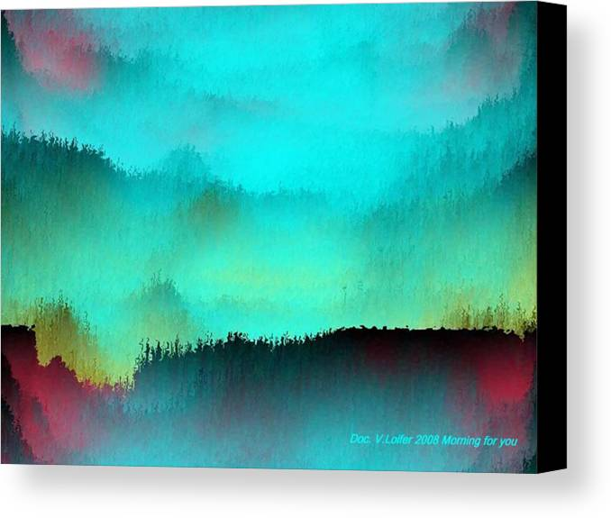Morning Fog Silhouette The Layers Of The Fog Colors Pale Blue Rose Black Canvas Print featuring the digital art Morning For You by Dr Loifer Vladimir