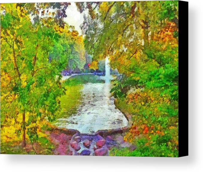 Ohio State University Canvas Print featuring the digital art Mirror Lake. The Ohio State University by Digital Photographic Arts