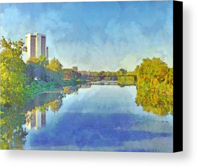 Ohio State University Canvas Print featuring the digital art Towers On The Olentangy. The Ohio State University by Digital Photographic Arts
