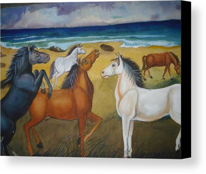 Mustang Canvas Print featuring the painting Mustang Mates by Prasenjit Dhar