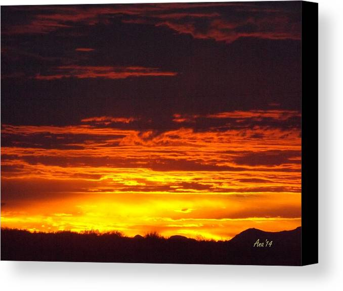 Sunset Canvas Print featuring the digital art New Mexico Sunset by Ana Thompson