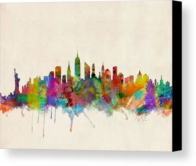 High Lights Of New York Skyline Canvas Wall Art: New York City Skyline Canvas Print / Canvas Art By Michael