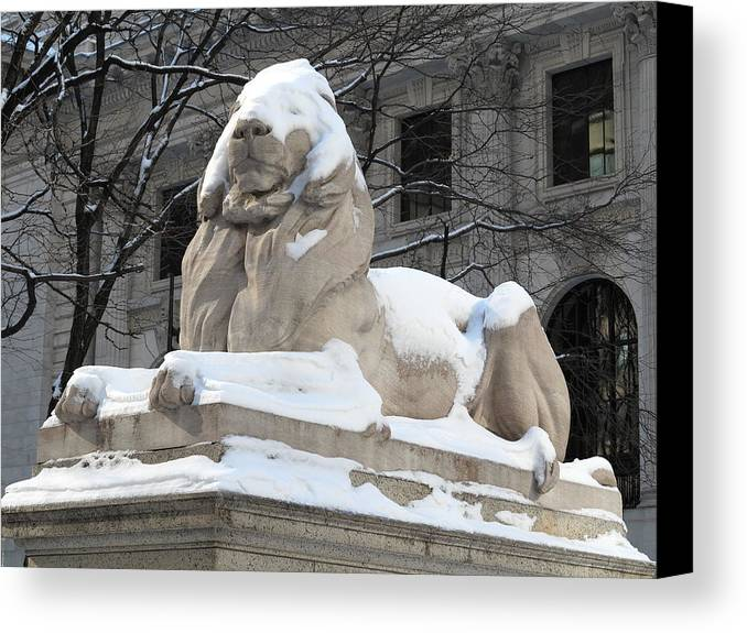 Animal Canvas Print featuring the photograph New York Public Library Lion by Frank Romeo