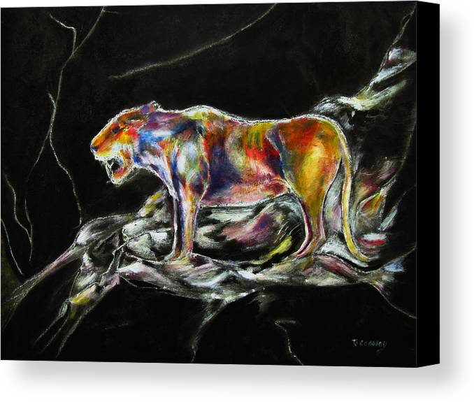 Animals Canvas Print featuring the painting No Fear by Tom Conway