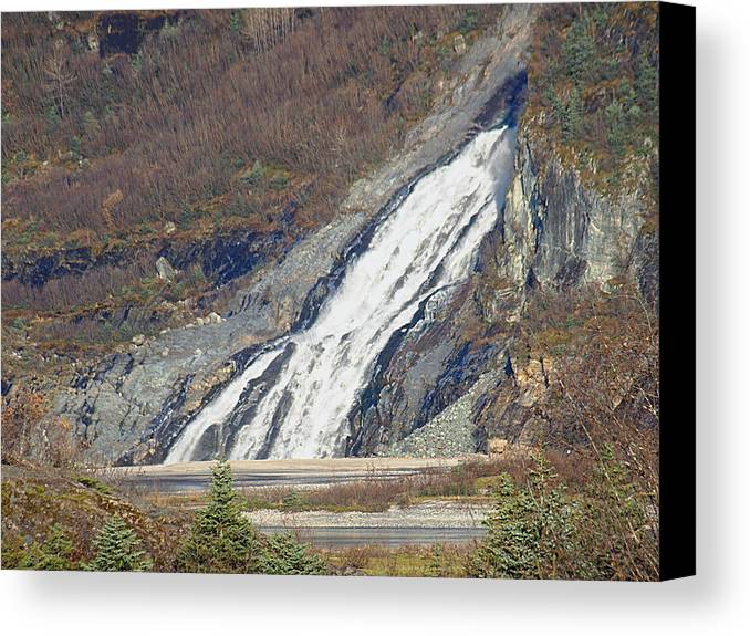 Nugget Falls Canvas Print featuring the photograph Nugget Falls In Juneau Alaska During Late Fall by Jessica Foster