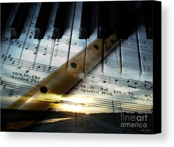 Music Therapy Mood Recorder Flute Sunset Keyboard Piano Sheet Staff Note Notes Lines Words Traditional Musical Art Kyllo Positive Life Indian Theory Modern Listening Emotional Classical Sound Quality Melodic Emotions Written Western Performance Program Cover Composer Song Rhythmic Rhythm Renaissance Performing Arts Physiological Organ Melody Instrument Harmony Awareness Score Pitch Perform Baroque Tones Timbre Theatre Tempo Symbols Sounds Soul Session Rural Passage Moods Happy Creation Canvas Print featuring the photograph Of Music by R Kyllo