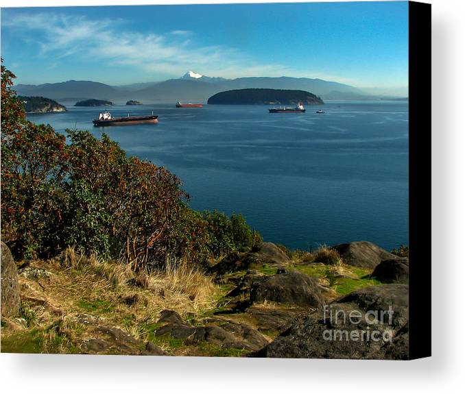 Anacortes Canvas Print featuring the photograph Oil Tankers Waiting by Robert Bales