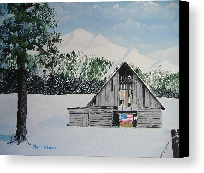 Landscape Canvas Print featuring the painting Old Forgotten But Still Proud by Norm Starks