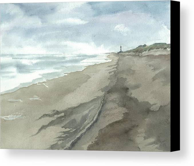 Obx Canvas Print featuring the painting Old Hatteras Light by Joel Deutsch