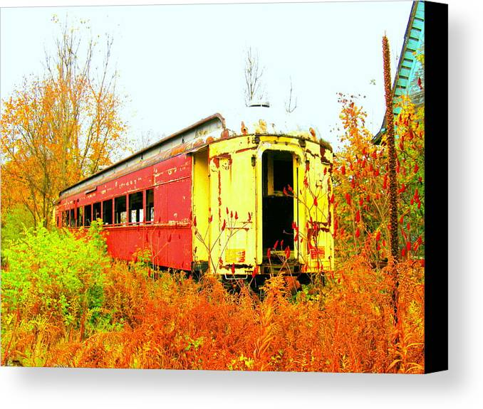 Railroad Canvas Print featuring the photograph Old Rail Car by Alan Lampson