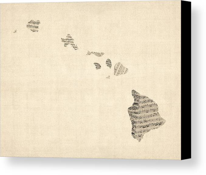 United States Map Canvas Print featuring the digital art Old Sheet Music Map Of Hawaii by Michael Tompsett