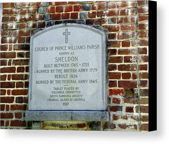 Sheldon Church Sign. Prince William's Parish Canvas Print featuring the photograph Old Sheldon Church 4 by Pamela Iris Harden