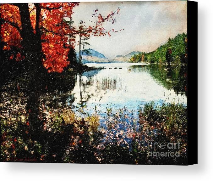 Maine Canvas Print featuring the digital art On Jordan Pond by Lianne Schneider