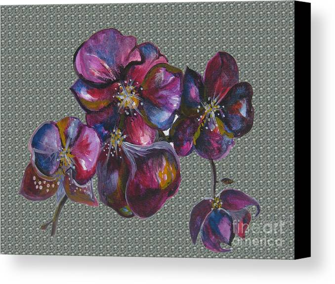 Watercolour Canvas Print featuring the drawing Orchids Grey Bubble by Karen Larter