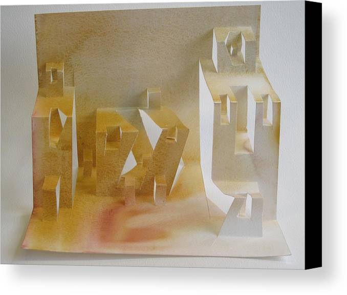 Architecture Canvas Print featuring the sculpture Paper Architecture by Alfred Ng