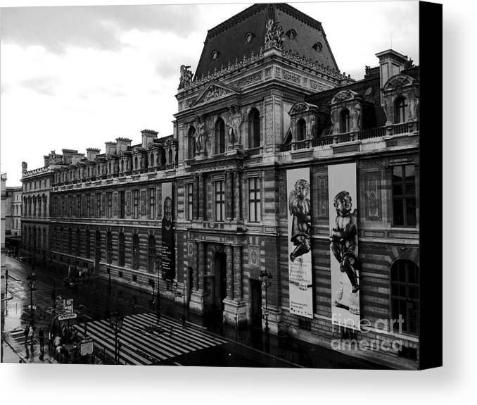 Paris louvre museum prints canvas print featuring the photograph paris black and white vintage louvre photography
