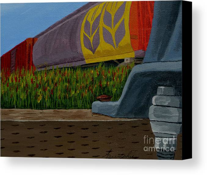 Train Canvas Print featuring the painting Passing The Wild Ones by Anthony Dunphy