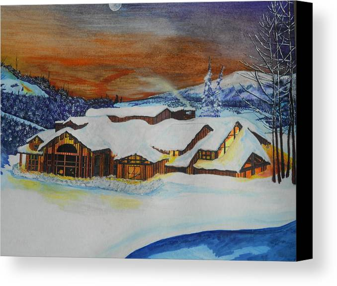 House Canvas Print featuring the painting Peaceful Silence by Willie McNeal