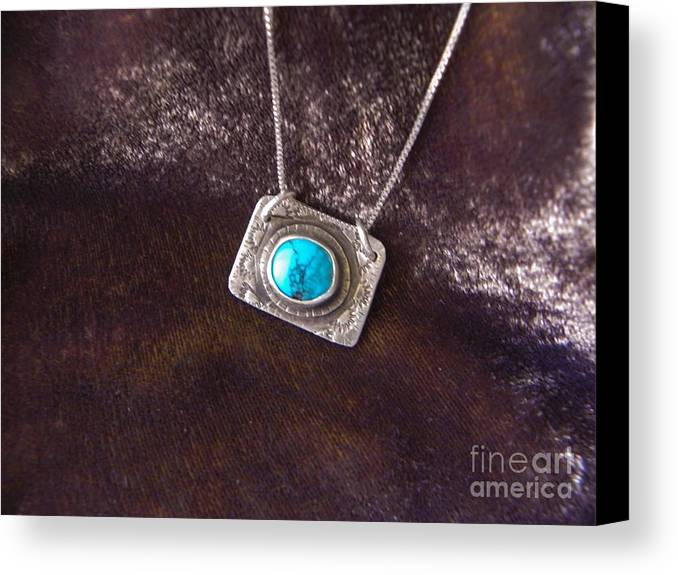 Turquoise Canvas Print featuring the jewelry Pendant With Turquoise by Patricia Tierney