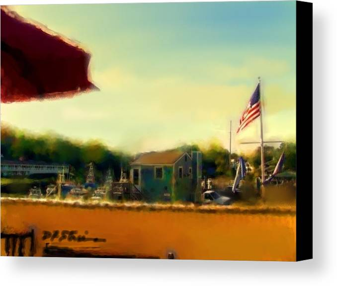 Fineartamerica.com Canvas Print featuring the painting Perkin's Cove - Ogunquit Me - Number 5 by Diane Strain