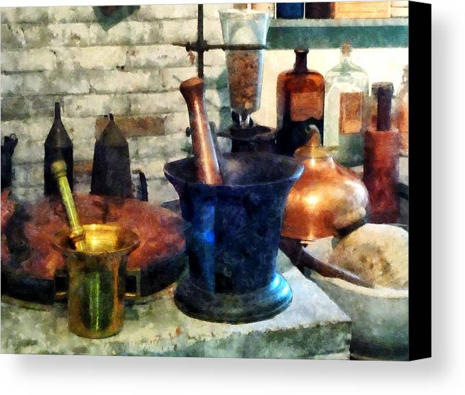 Drugstore Canvas Print featuring the photograph Pharmacist - Three Mortar And Pestles by Susan Savad