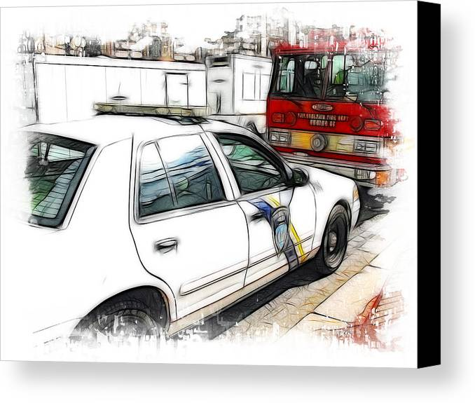 911 Canvas Print featuring the photograph Philadelphia Police Car by Fiona Messenger