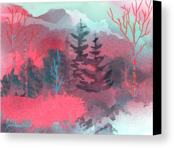 Forest Canvas Print featuring the painting Pink Forest by Joan A Hamilton