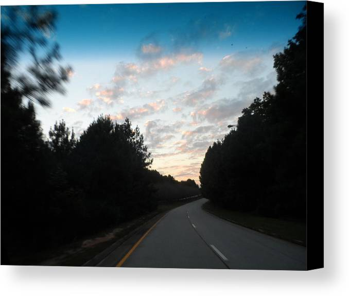 Pink Sunset Road Travel Trees Clouds Sky Heavens Canvas Print featuring the photograph Pink Sunset Sky by James Potts